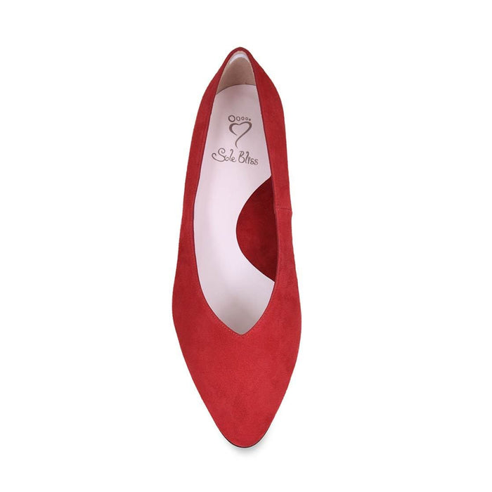 Red suede wider width dress pumps for bunions