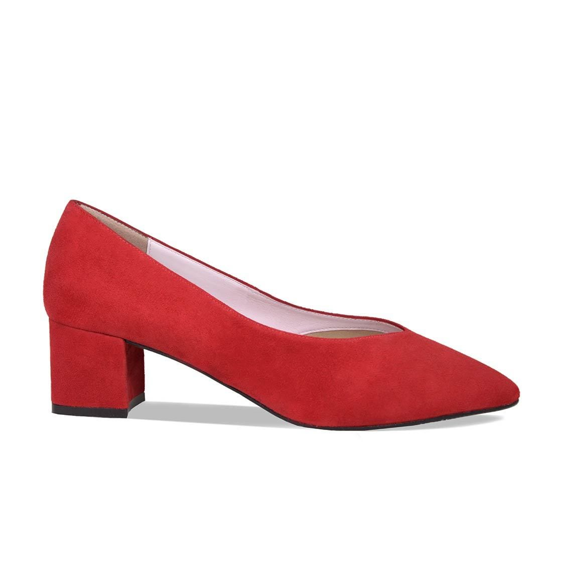 Red Suede Block Heeled Pumps