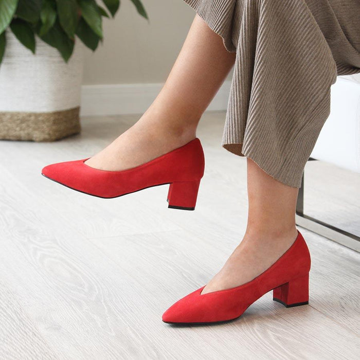 Block heeled red suede dress pumps for bunions