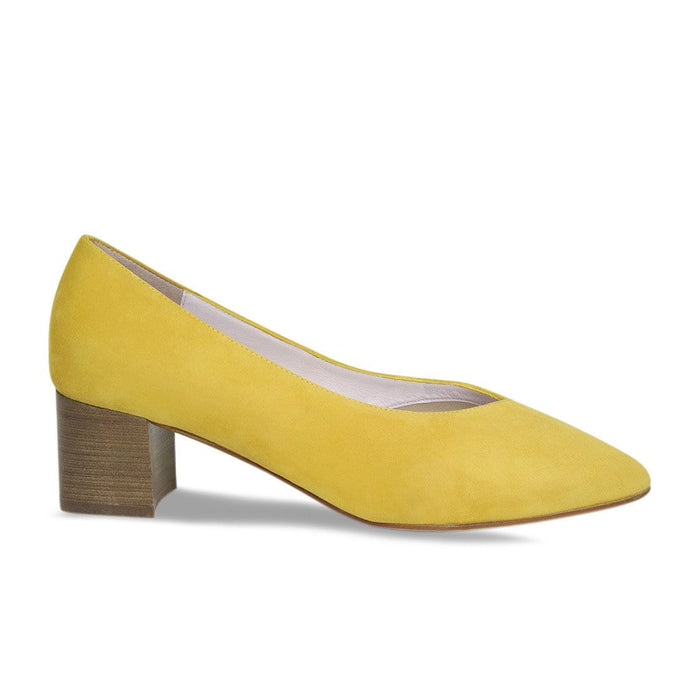Yellow Suede with Stacked Block Heel for Bunions and Wider Feet
