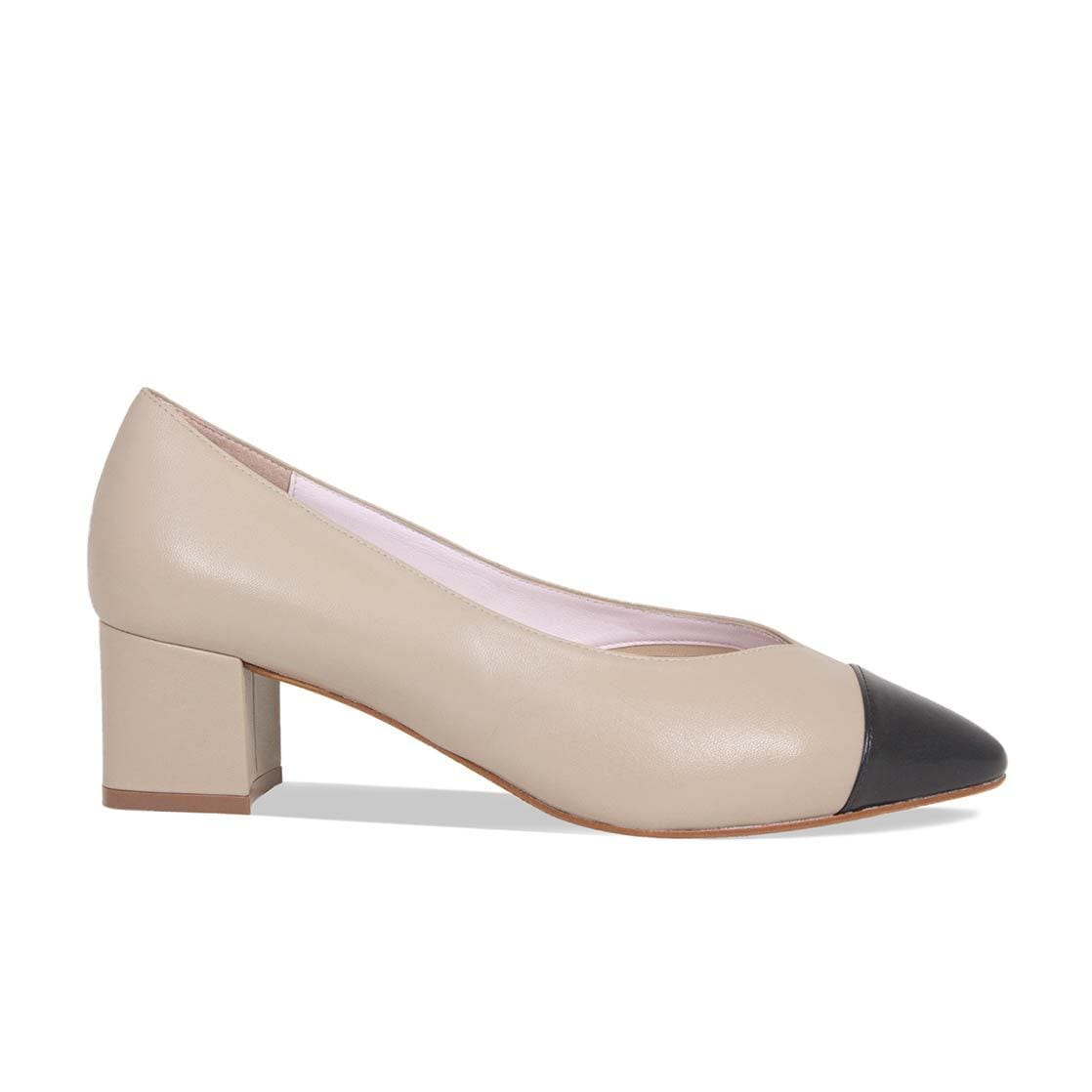 Nude & Black Leather Block Heeled Pumps