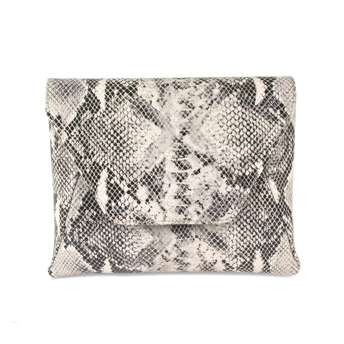 Gray Snake Print Leather Matching Clutch Bag