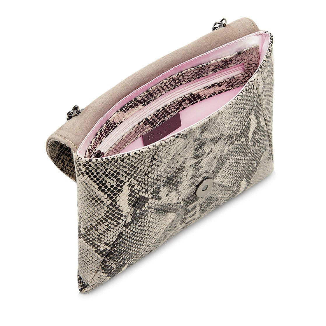 Gray Snake Print Leather Clutch