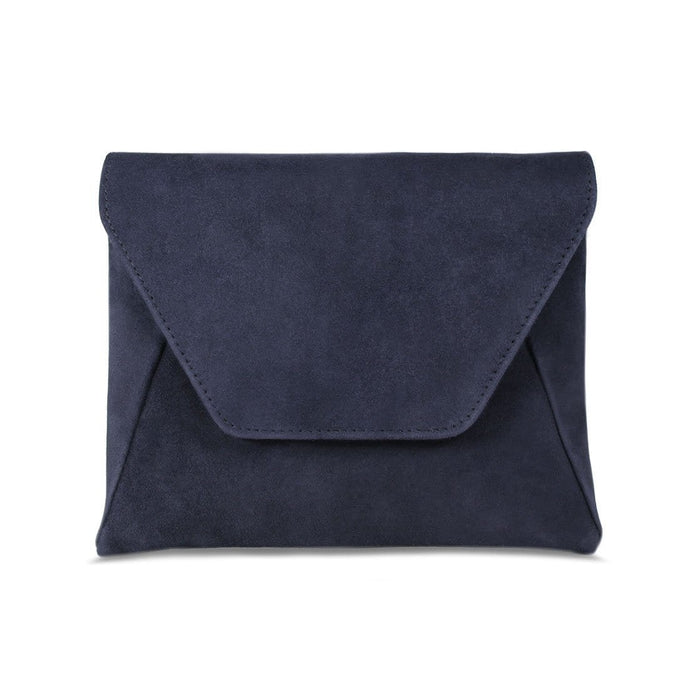 Sole Bliss Navy Suede Clutch Bag with Detachable Chain