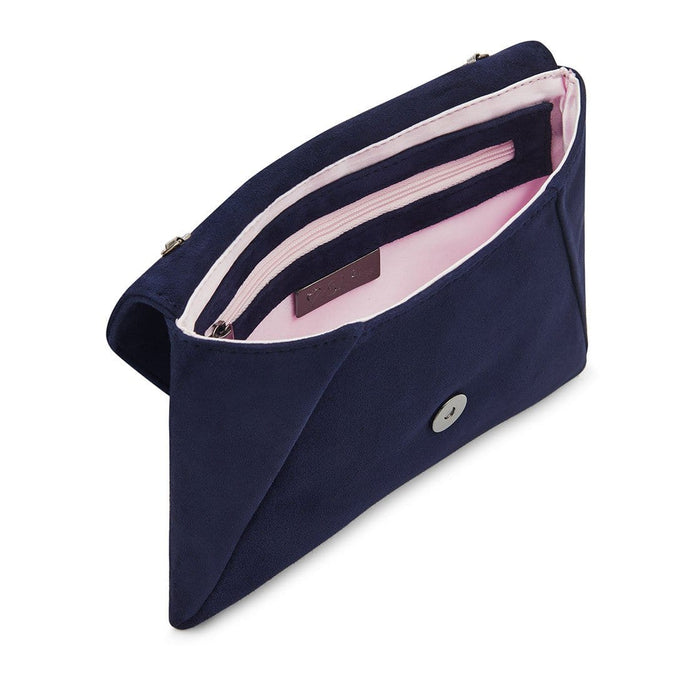 Smart navy suede clutch bag with inner pockets