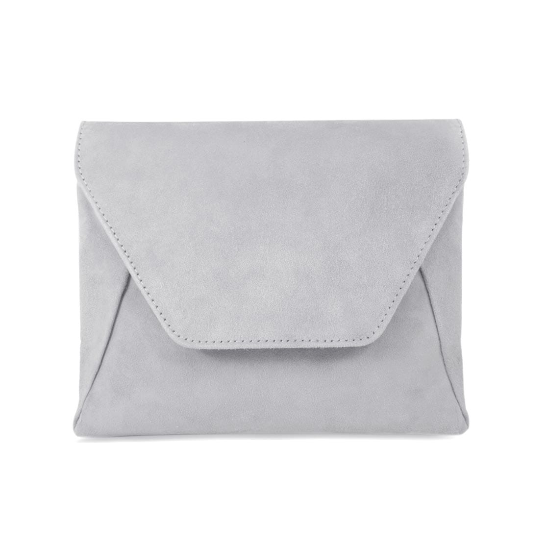 Pale Gray Suede Wallet on Chain
