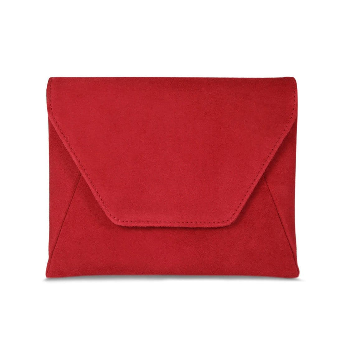 Red Suede Envelope Clutch