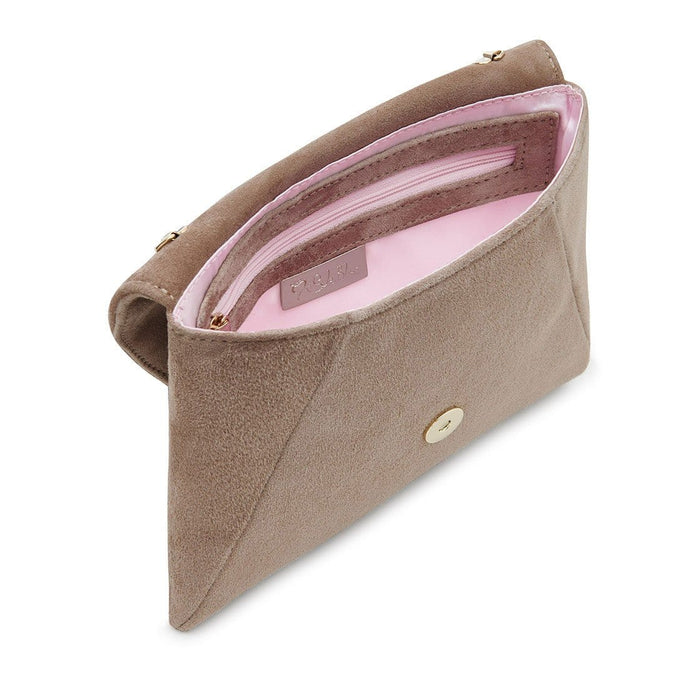 Taupe suede clutch bag by Sole Bliss