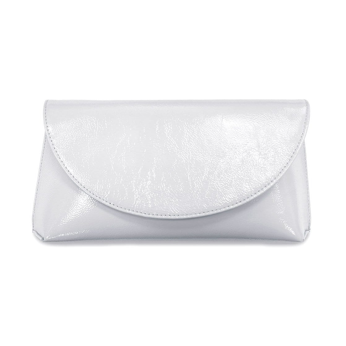 Pale Gray Patent Leather Clutch