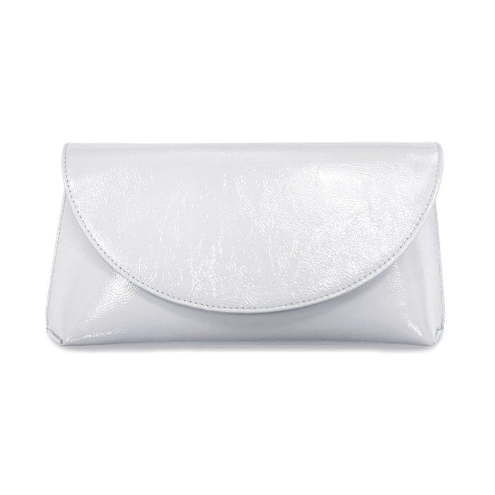 Pale Gray Patent Leather Clutch Bag by Sole Bliss