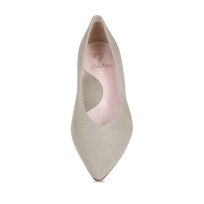 Pebble suede kitten heel for wider feet and bunions by Sole Bliss