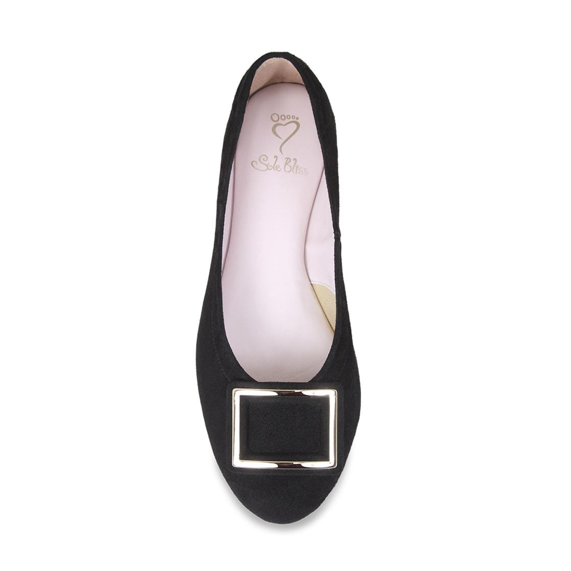 Black Suede Ballet Flat with Buckle