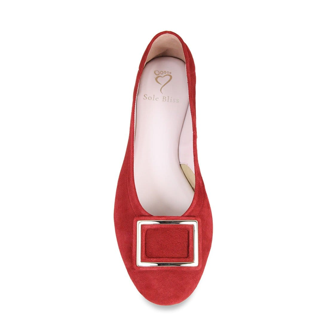 Cherry Red Suede Ballerina with Buckle