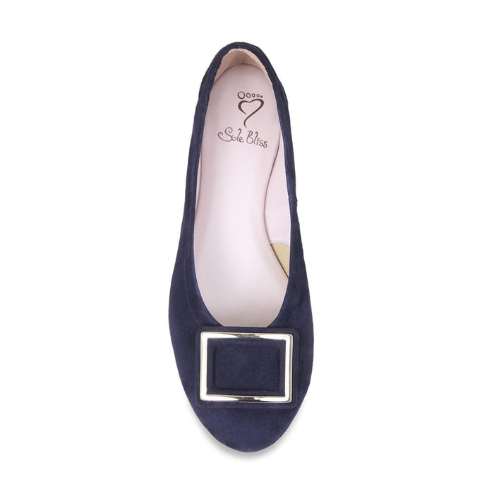 Navy suede wider width dress shoe for bunions.