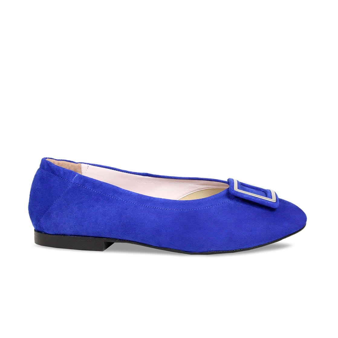 Royal Blue Suede Ballerinas with Buckle