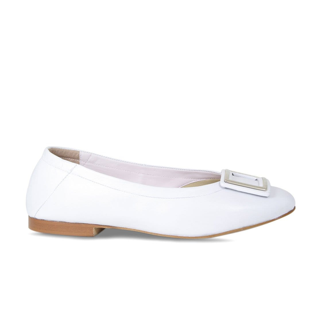 White Leather Ballet Flat with Buckle
