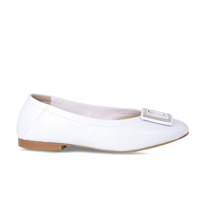White Leather with Buckle Bunion Flat Shoes