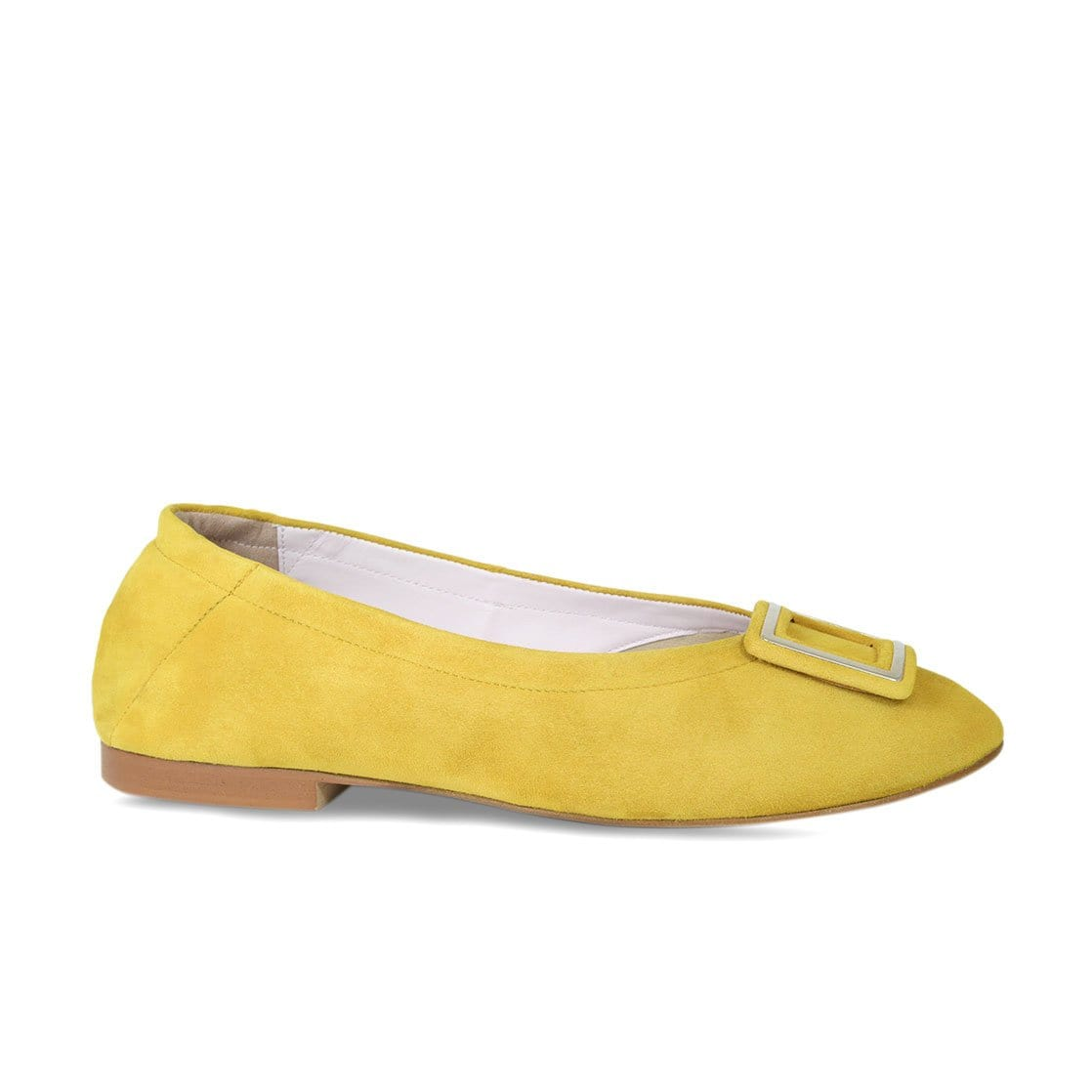 Yellow Suede Ballet Flat with Buckle