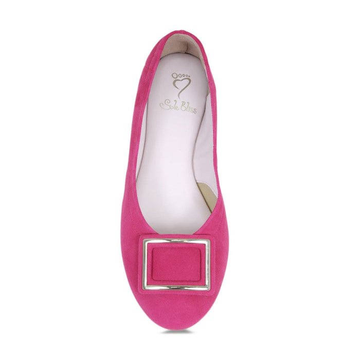 Cute wider width hot pink suede flats for bunions by Sole Bliss