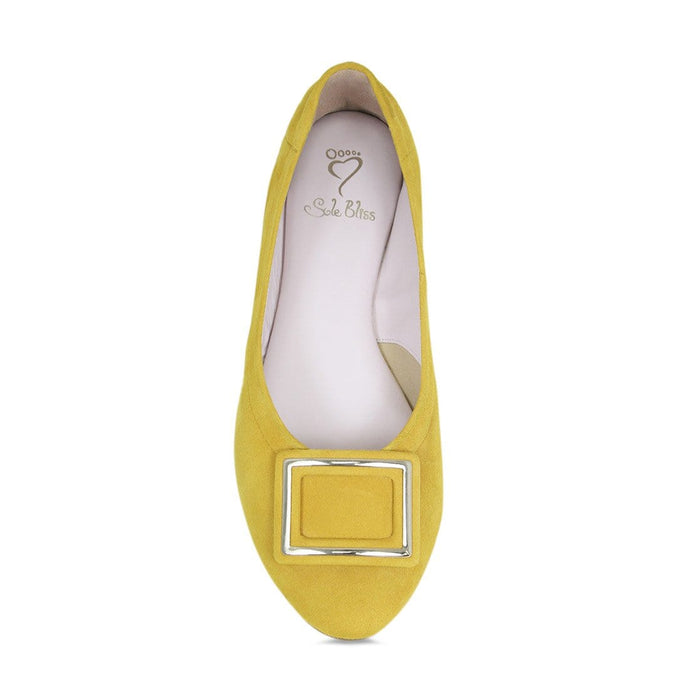 Yellow suede comfort flats for bunions and wider feet