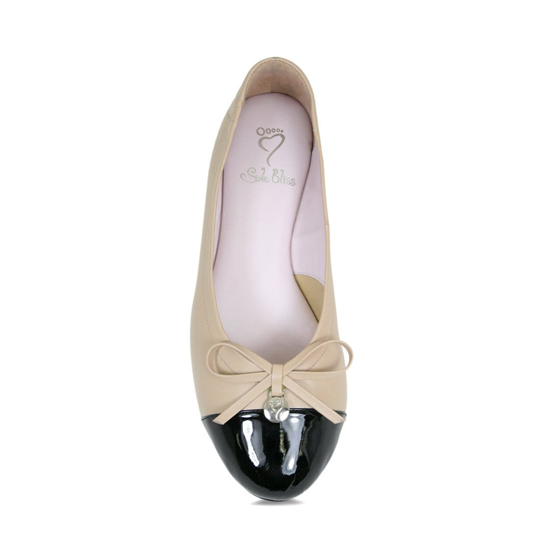 Nude & Black Leather Ballerina with Bow