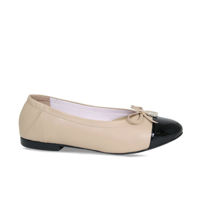Nude Leather and Black Toe Cap Flats for Bunion Sufferers