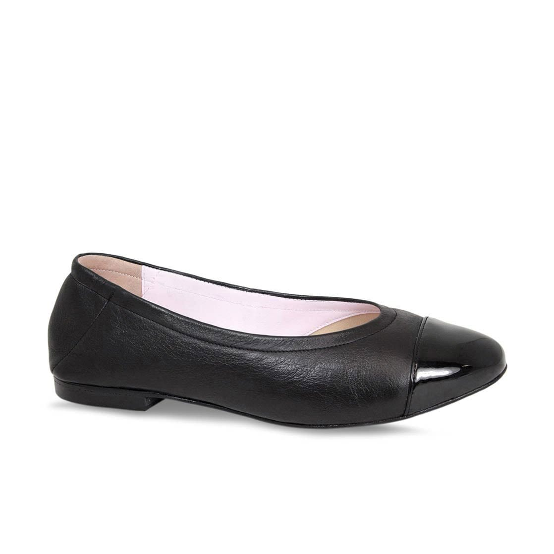 Black Leather Ballerina with Patent Toe Cap