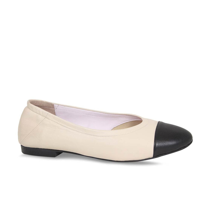 Sole Bliss Cream Leather and Black Toe Cap Flats for Bunions