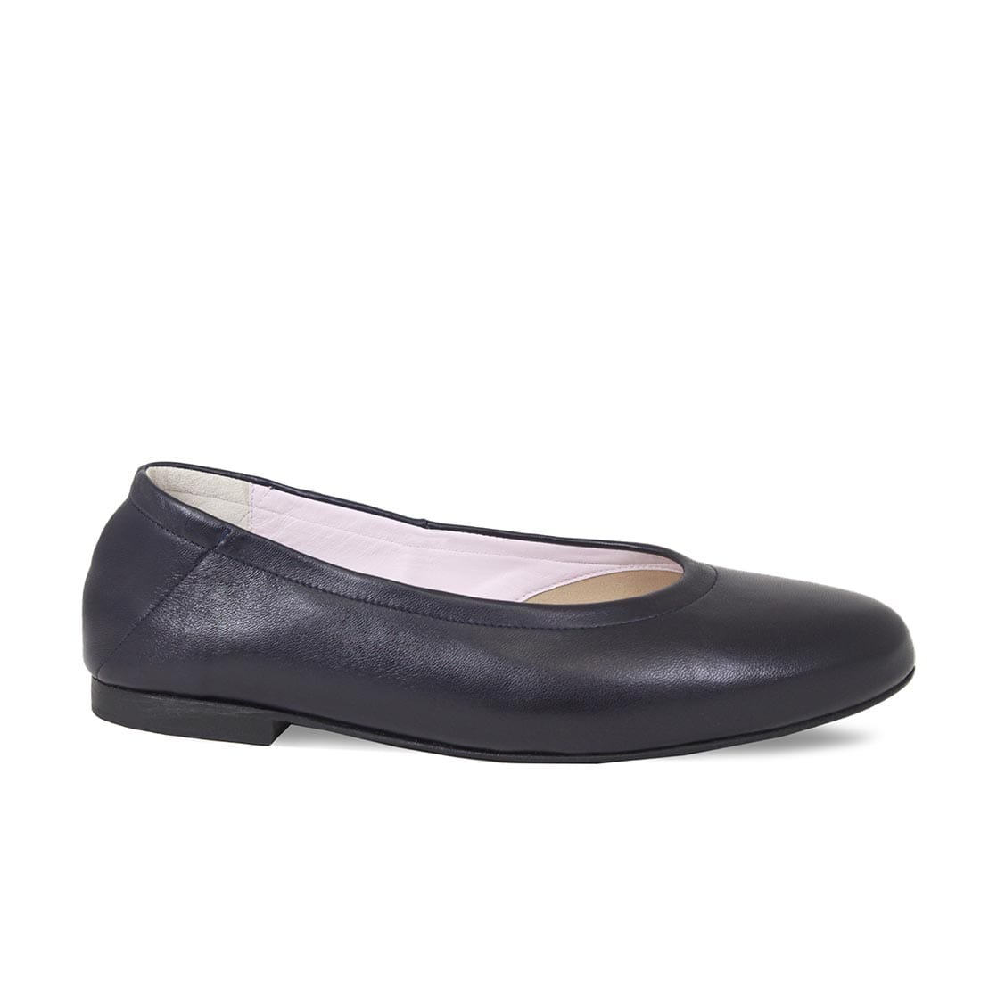 Navy Leather Ballet Flats