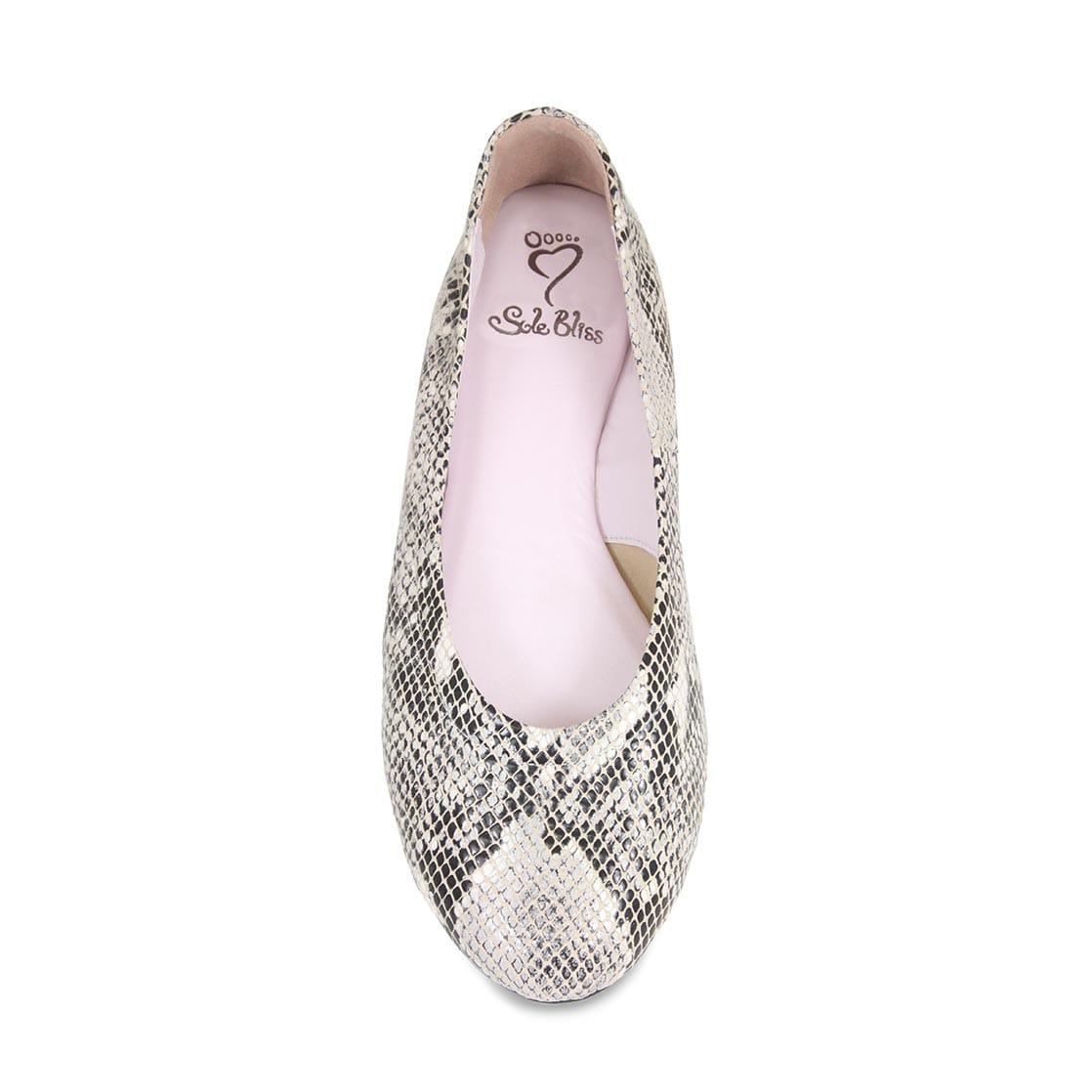 Gray Snake Print Leather Ballerina