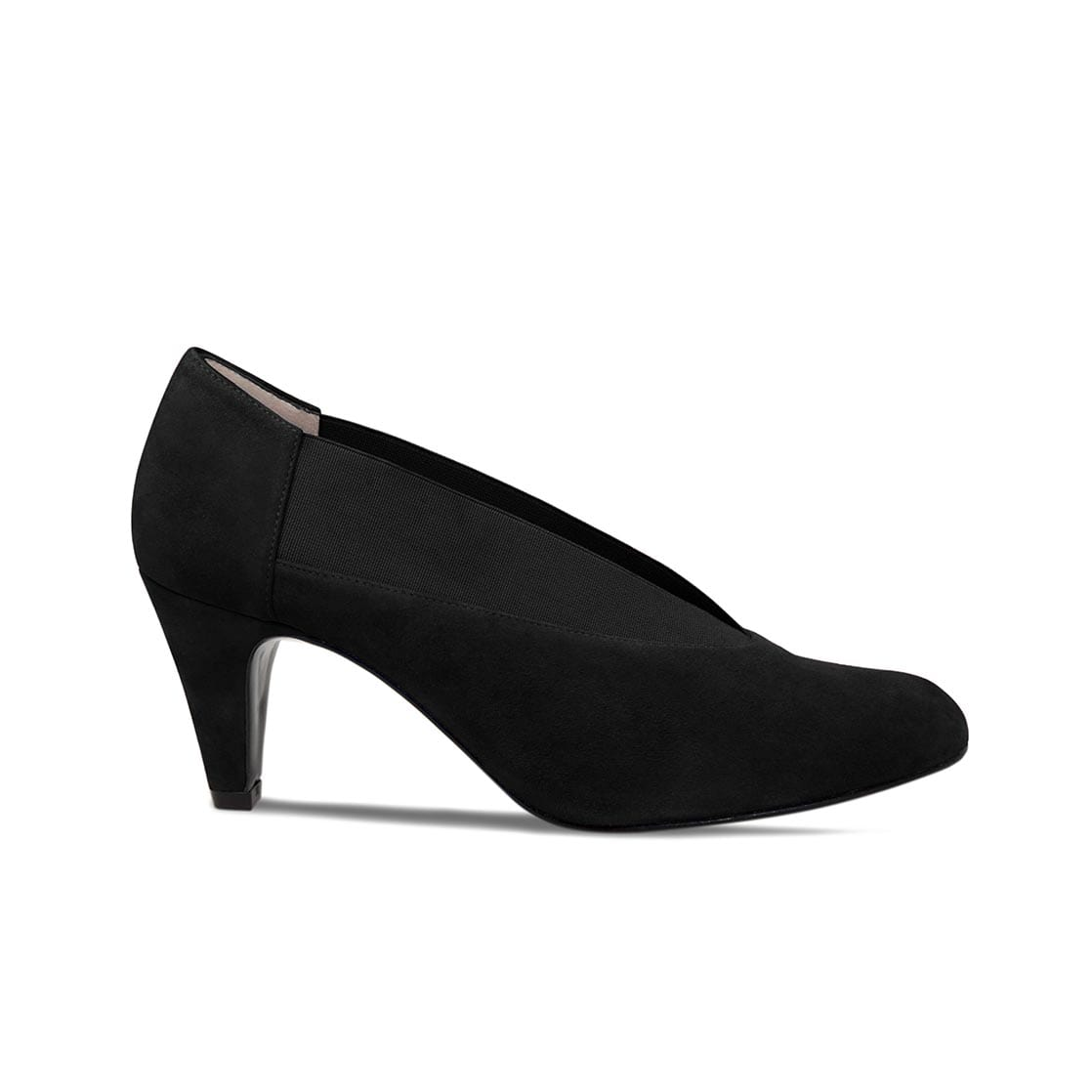 Black Suede Heels with Elasticated Top Line