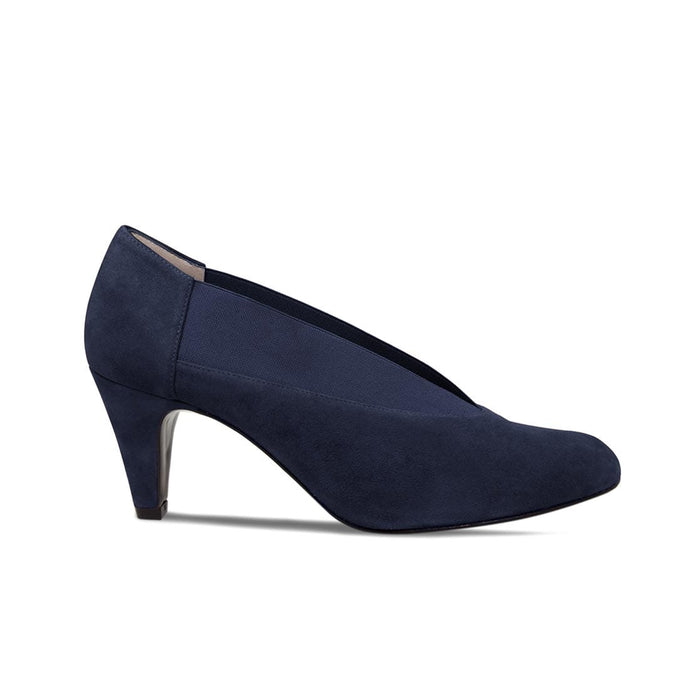 Navy Suede Extra Wide High Heeled Bunions Shoes