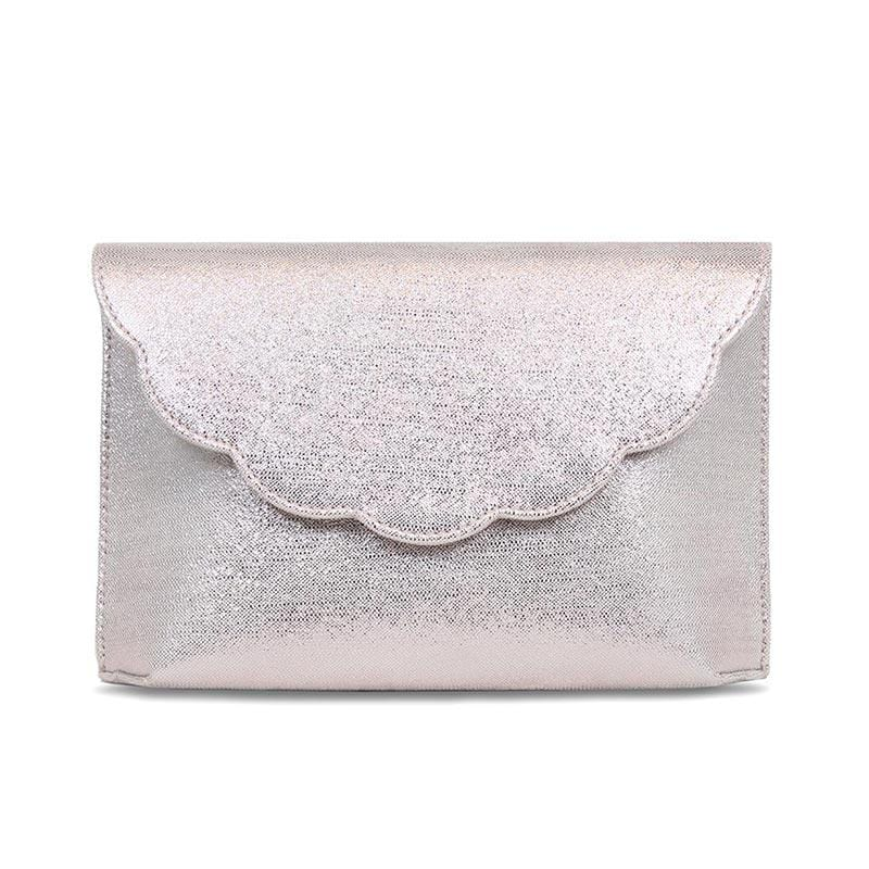 Metallic Mink Suede Bag with Scalloped Edge