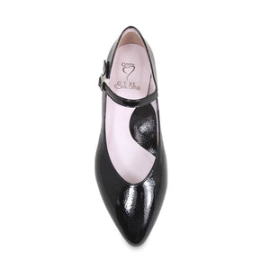 Black leather Marry Janes with fashionable block heels for bunions
