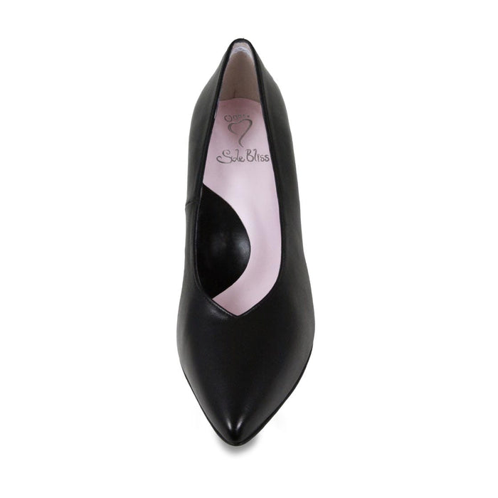 Black Italian leather slim-heeled pumps for bunions
