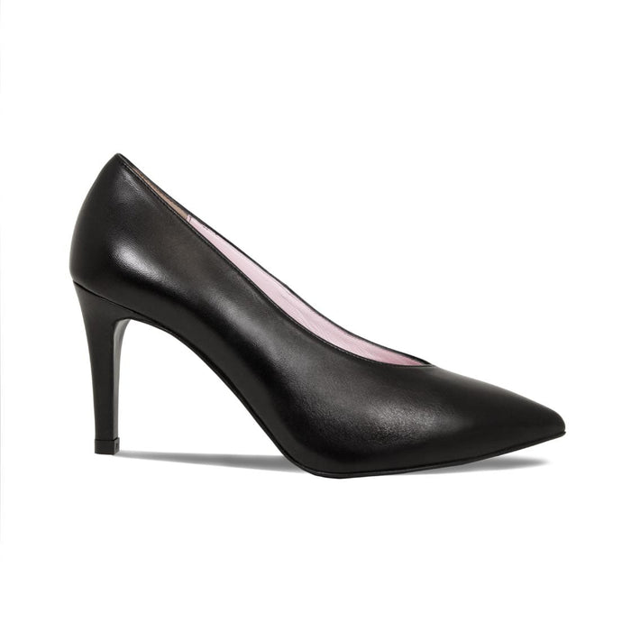 Black Leather High Court Pumps for Bunions