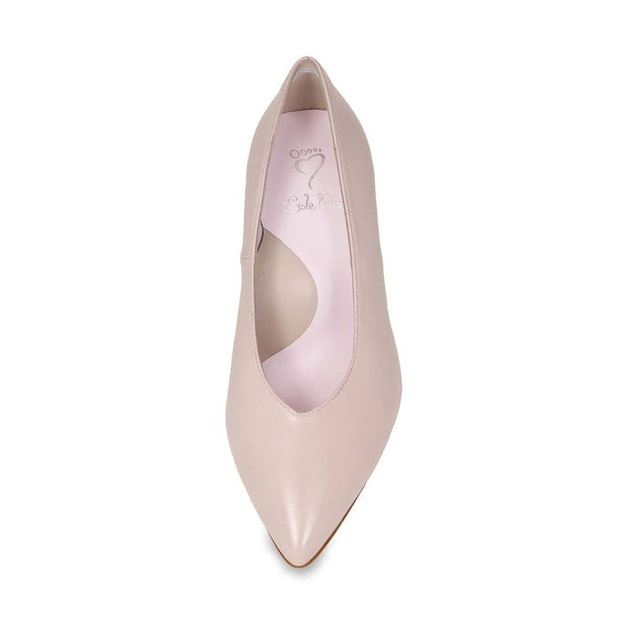 Elegant blush leather pump for bunions or wider feet