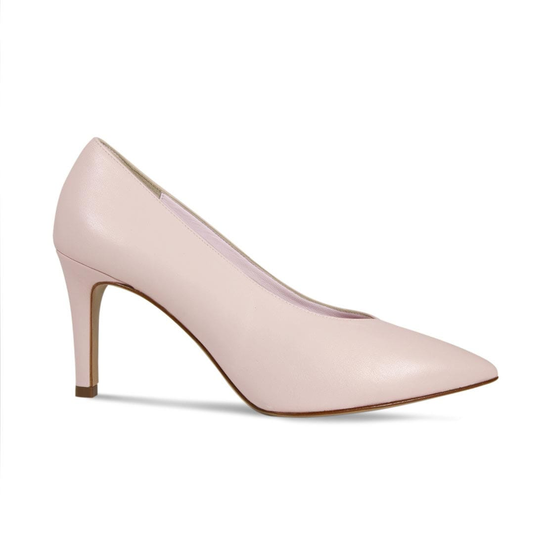 Blush Leather High Heeled Pumps