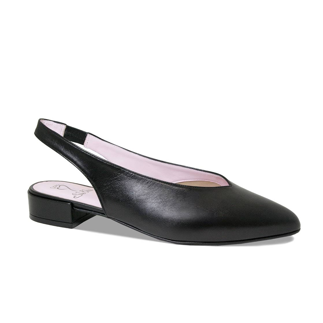 Black Leather Flat Sling-Back Shoes
