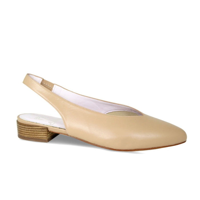 Camel Leather Elasticated Slingback Flat Bunion Shoes