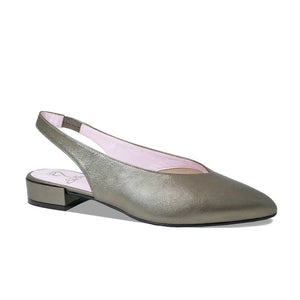 Pewter Leather Flats with Elasticated Strap for Bunions and Wider Feet
