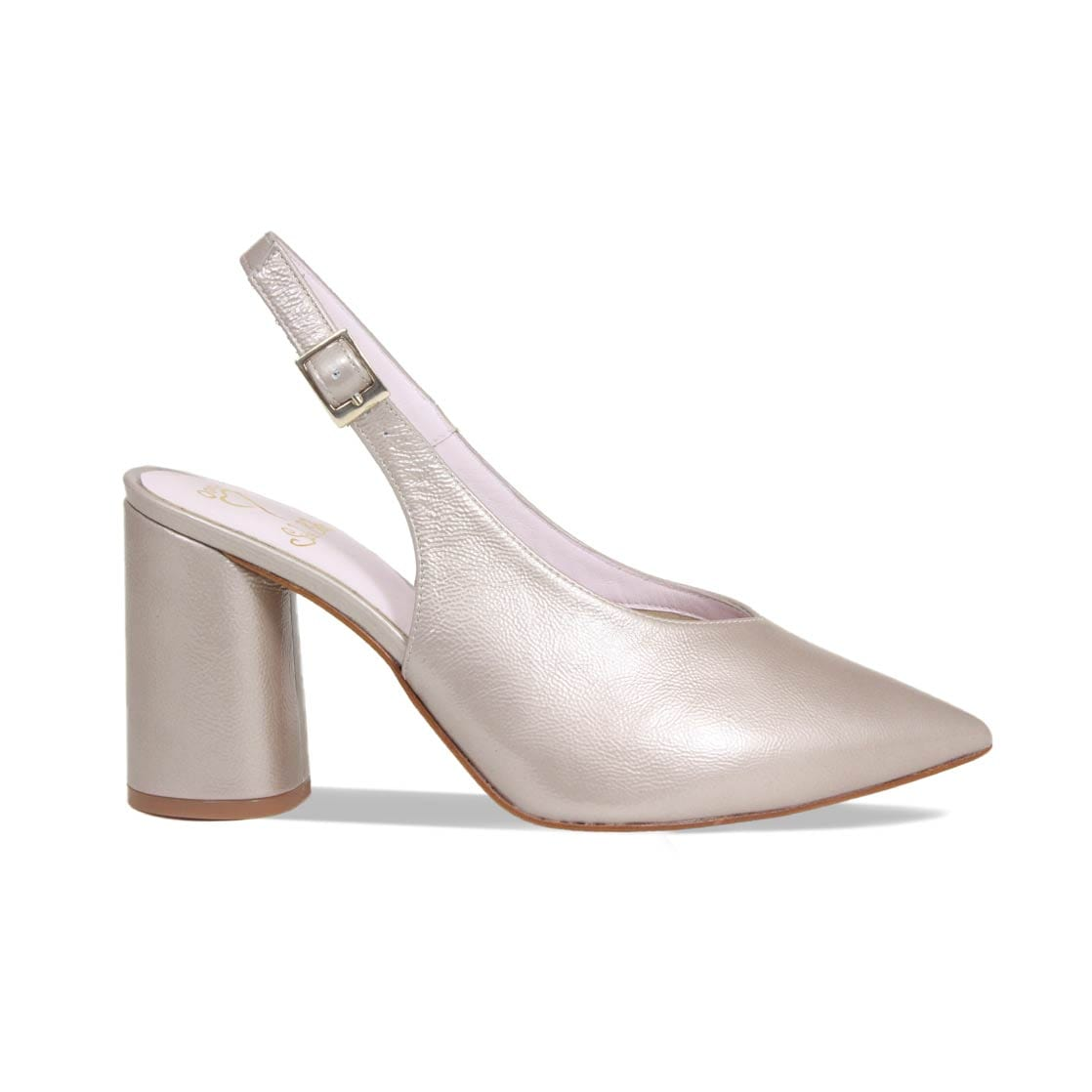 Taupe Patent Leather Block Heel Pointed Pump