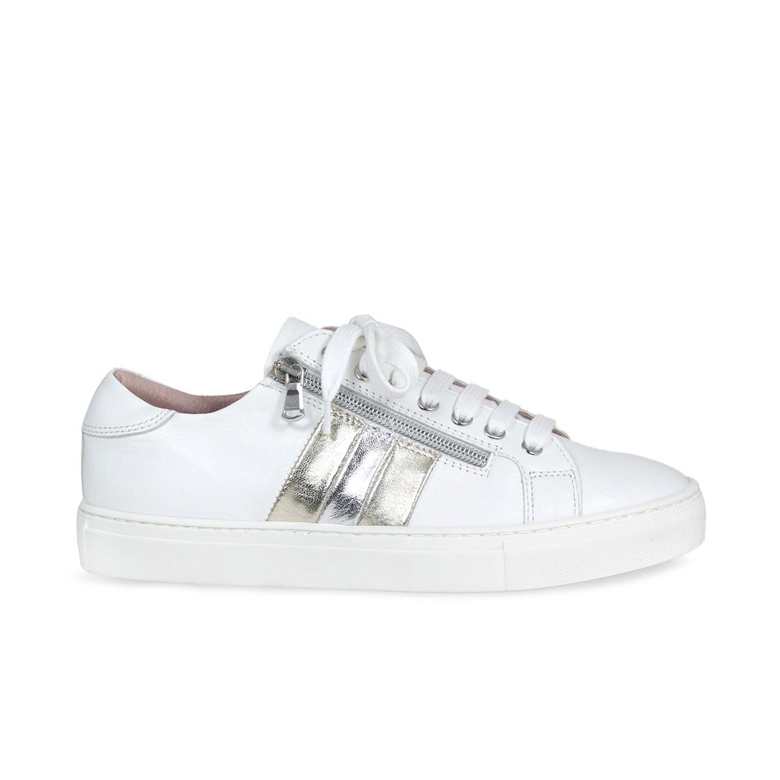 Sprint: White & Metallic Leather