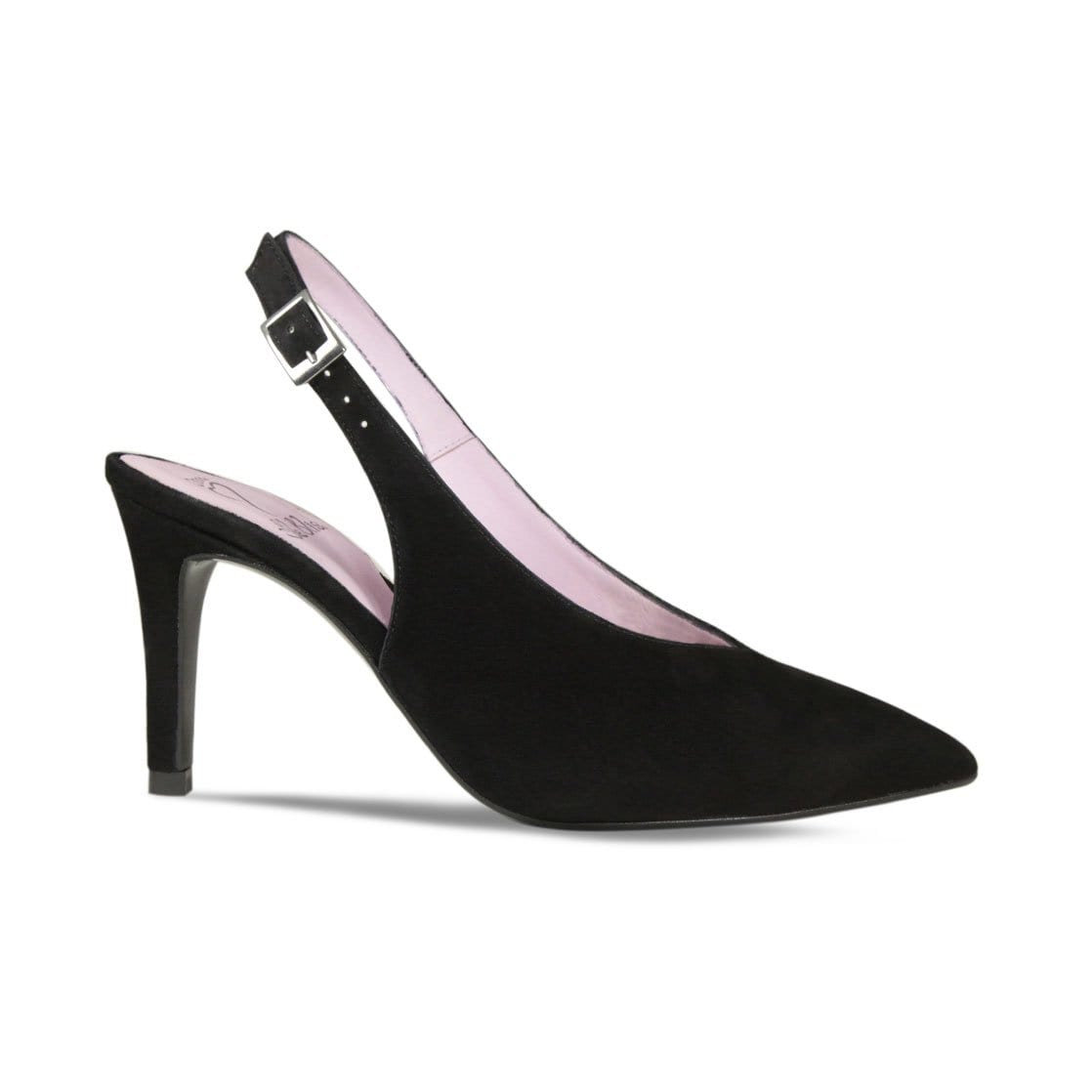Black Suede Slim-Heel Sling-Back Pump