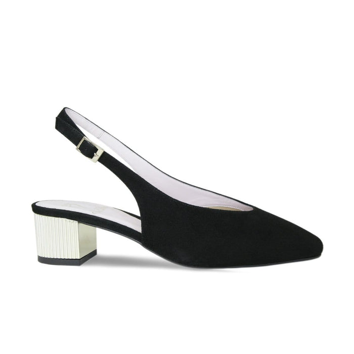 Black Suede Slingback with Gold Block Heel for Bunions and Wider Feet