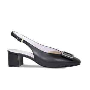 Black Leather Block Heels for Bunion and Wider Feet with Buckle Detail