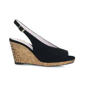 High Wedge Slingback in Black Suede for Bunion Sufferers
