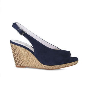 Navy Suede Wedge Sandal by Sole Bliss Bunions Shoes