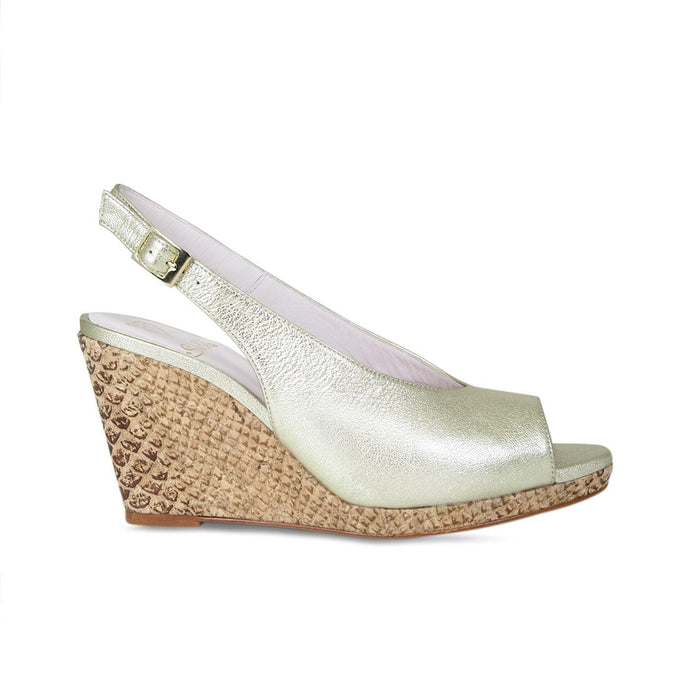 Gold Leather Open-Toe Wedge for Bunions and Wider Feet
