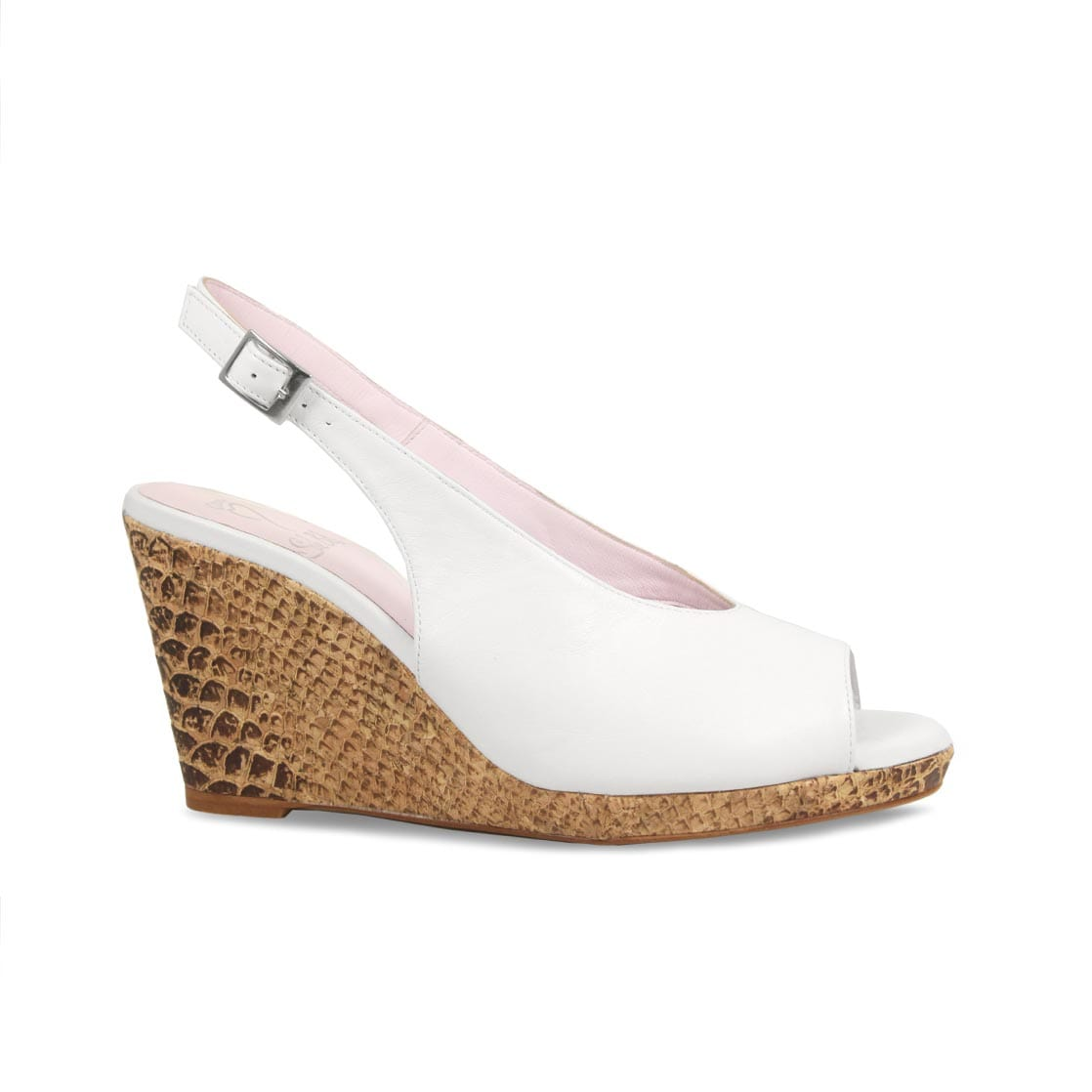 White Leather Peep-Toe Wedge Sandals